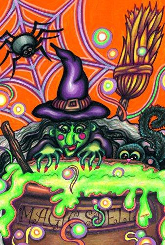 Toland Home Garden Magic Spell 31,8 x 45,7 cm Dekorative Bunte Halloween-Hexenkessel Katze Spinne Garten Flagge