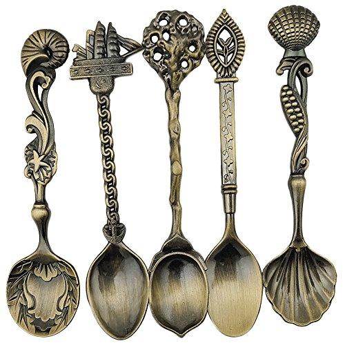 Kaffee Löffel Teelöffel, Royal Style Metall geschnitzt Süße Snacks Suppe Schaufeln für Küche Vintage Esszimmer Bar Geschirr (Bronze) (Vintage Küche Geschirr)