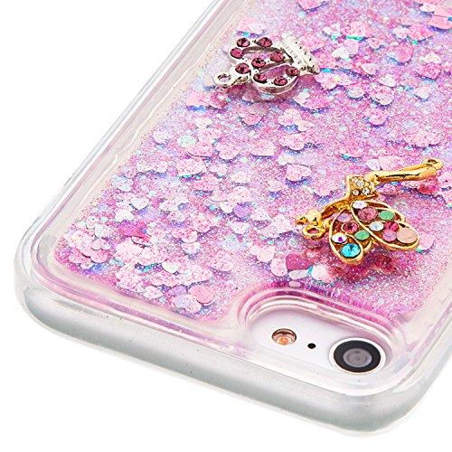 """Flüssiges Case Ultra Thin Dünn TPU Silikon Schutzhülle für iPhone 7 4.7"""" 3D Kreative Liquid Handyhülle Durchsichtig Rückseite Tasche Glitter Shiny Kristall Klar Handytasche Sparkle Dynamisch Treibsand D02"""