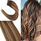 YoungSee 9pcs/140g Full-Kopf Echthaar Verdichtung Clip in Extensions Balayage Farbe Braun mit Blond Natur Haare Extension 20zoll/50cm