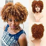 Blue Bird court Kinky bouclés perruque synthétique Afro Perruques pour femme noire résistant à la chaleur Cheveux bouclés Perruques avec frange pour la femme africaine (couleur # 30)