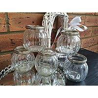 Cristal Estilo de la vendimia luz del té vela titular Ronda de calabaza de la boda decoración de la tabla