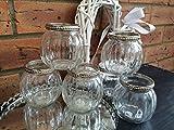 Teelichthalter im Vintage-Stil aus Glas, rund, Kürbisform, Hochzeits-Tischdeko, glas, Clear / Transparent, 6er-Set