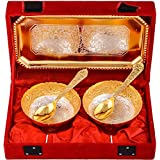 Art Bazar Silver And Golden Plated, Tray, Bowl With Spoon Set, 50 Ml, 5-Piece, Gold (JPGS099)