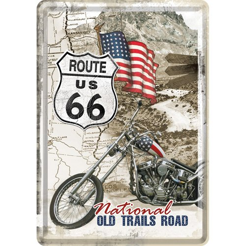 Nostalgic-Art 10117 US Highways - Route 66 Old Trails Road, Blechpostkarte 10x14 cm (Metall-schilder Der Route 66)