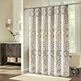 """Comfysail Elegant Printing 100% Polyester Fabric Extra Large Waterproof Mouldproof Bathroom Shower Curtain With 12 Hooks (200x200cm (79""""x 79""""), Beige Printing)"""