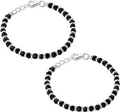 Oddrush genuine 925 sterling silver baby bracelets kada bangle nazariya With Black Beads / crystal for baby boy and girl