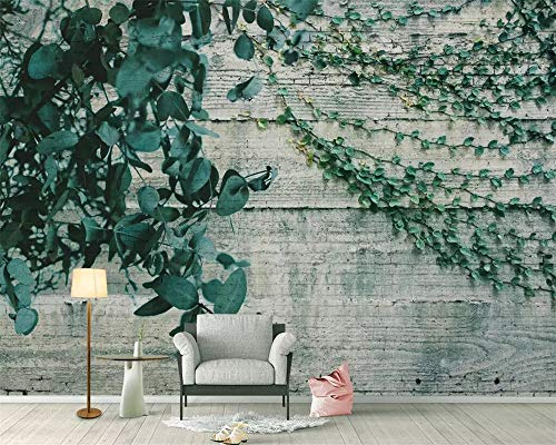 zifische Tapeten-Garten-Wind-Betriebs-Rebe verlässt hölzernen Wand-Hintergrund-Wohnzimmer-Schlafzimmer-Fernsehhintergrund-3D Tapete, 250 × 175Cm ()