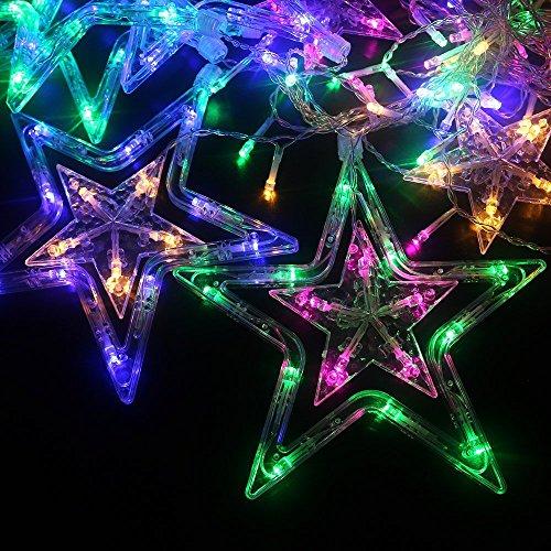 MJTP 138 LEDs 12 Sterne LED Lichterketten 8 Licht Modi Streifen Weihnachten Baum XMAS Party Hochzeit Kinderzimmer Dekoration Draussen Innen Lampen (Bunt) - 5
