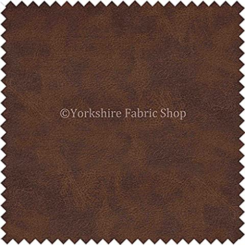 Aged Distressed Faux Nubuck Leather Fabric Soft Semi Sueded Suede In Chestnut Brown Finish Use Cars Outdoor Chairs Furniture - Sold By The Meter by Yorkshire Fabric Shop