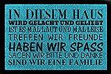 SCHMUTZMATTE Fußmatte IN DIESEM HAUS Geschenk Einzug Dekomatte Spruch Türmatte Türkisblau