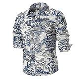 GreatestPAK Chinesische Tinte Malerei Waschen Stil Gedruckt langärmeligen Hemd Männer Persönlichkeit Schlankes Hemd
