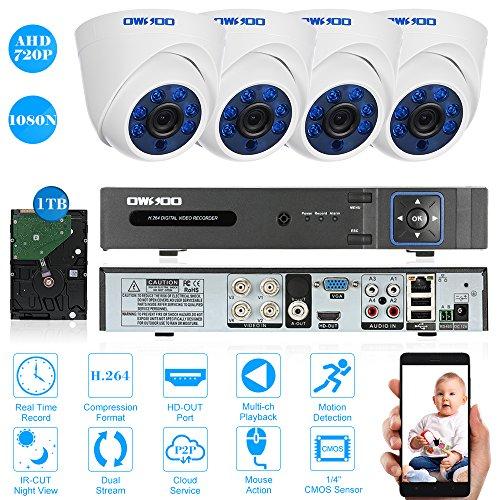 OWSOO 4CH Full 1080N DVR H.264 Grabador + 1TB Disco Duro + 4x 720P AHD Cámara en Domo Interior CCTV + 4x 60ft Cable de Vigilancia Soporta APP Control Detección de Movimiento Visión Nocturna