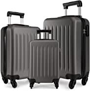 Kono Luggage Set of 3 PCS Lightweight ABS Hard Shell Trolley Travel Case with 4 Spinner Wheels 19
