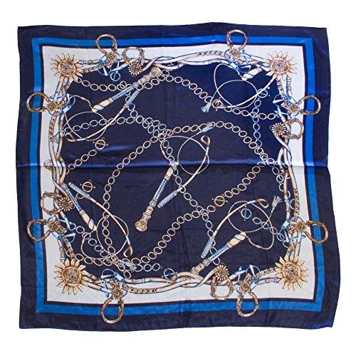 Elegantes Seidentuch aus 100% Seide – Blau mit Reiter-/Segler-Mustern – Geschenk für Frauen & Freundin – 90x90cm – Seidenschal, quadratisches Halstuch (Anzug Segler Damen)
