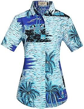 SSLR Camisa Blusa Mujer Hawaiana Manga Corta Casual Estampado Tropical