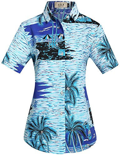 SSLR-Camisa-Blusa-Mujer-Hawaiana-Manga-Corta-Casual-Estampado-Tropical-Medium-Azul