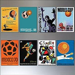 Fußball-Weltmeisterschaft-Plakate von 1954-1982 Weinlese-Kühlschrank magnetsatz von 8 No.1 von 2