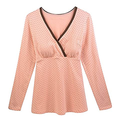 KUCI Women's Long Sleeve Maternity Nursing Top Breastfeeding Sleep Bra