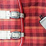 Equi Deluxe Pferde Fliegendecke, Insektenschutz aus reißfestem Spezial-Garn, strapazierfähig, schmutzabweisend, Seiten extra lang (135, Karo Orange)