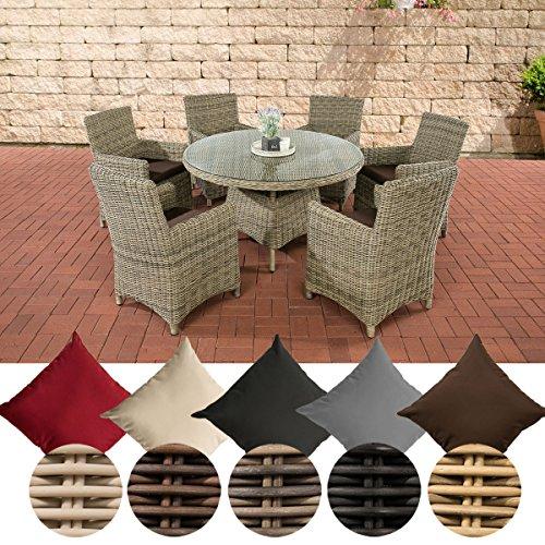 CLP Polyrattan-Sitzgruppe LARINO mit Polsterauflagen | Garten-Set bestehend aus einem Esstisch und sechs Gartenstühlen | In verschiedenen Farben erhältlich Bezugfarbe: Terrabraun, Rattan Farbe natura