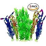 PANYTOW 5 Pieces Artificial Green Plant Grass Water plants for Fish Tank Aquarium Decor Ornament Decoration Plastic… 5