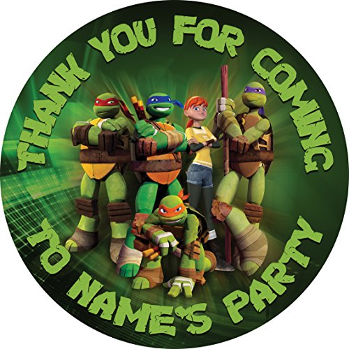 Image of Teenage Mutant Ninja Turtles Sticker Labels (24 x 4.5cm) Personalised Seals Ideal for Party Bags, Sweet Cones, Favours, Jars, Presentations Gift Boxes, Bottles, Crafts