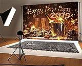 YongFoto 2,2x1,5m Foto Hintergrund Weihnachten Vinyl Frohes Jahr 2019 Sparkle Fireworks Champagner Hufeisen Licht Glitter Fotografie Hintergrund Foto Leinwand Kinder Fotostudio 7x5ft