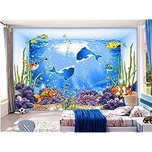 Wh-Porp 3D Fondo De Pantalla Personalizado Foto Mural Marine Cartoon Animal Acuario Decoración De