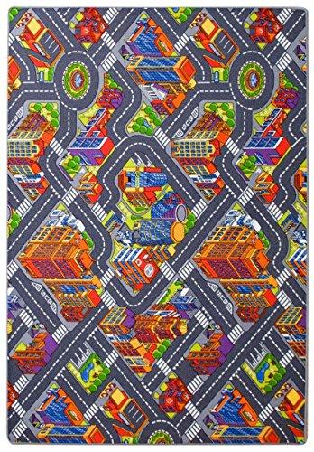 havatex Kinderteppich Straße 3D Optik - Spielteppich schadstoffgeprüft pflegeleicht schmutzabweisend robust strapazierfähig Kinderzimmer Spielzimmer, Farbe:Multicolor, Größe:140 x 200 cm