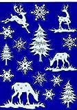 Fensterbild Set 16-tlg. Schneeflocken Eiskristalle Reh Hirsch Tannenbaum weiß