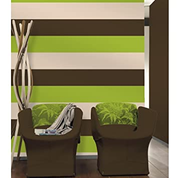 Chocolate Brown Lime Green Cream Olivia Stripe - Green and brown wallpaper