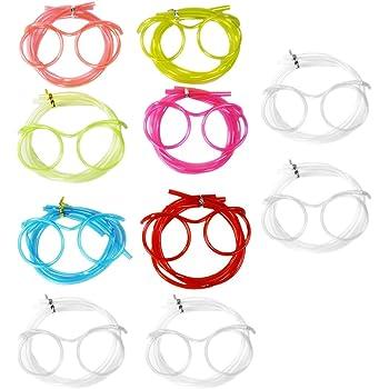 com-four® 10x Brillen Trinkhalm in Verschiedenen Farben