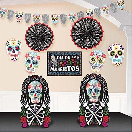 loween Deko Set 10 TLG. Tag der Toten Party Dekoration Raumdekoration La Catrina Raumdeko Dia de los Muertos Eventdeko Partydeko Mottoparty mexikanisches Totenfest ()