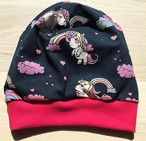 Beanie Mütze Einhörner mit Farbwechsel dunkelblau für Kopfumfang 50-55cm
