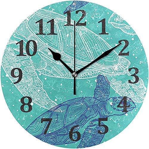 Mitta Yane Round Clock Graffiti Sea Turtle Reloj De Pared Relojes De...