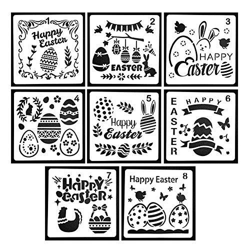 n, 8 Stück Happy Ostern Schablonen-Set, durchscheinend, wiederverwendbar, Ostereier, Kaninchen, Malschablone für Mauer, Steinmöbel, Karten, Holz, Leinwand, 12,7 x 12,7 cm ()