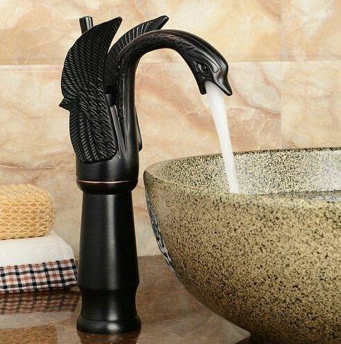 DD Continental nero rame bronzo cigni lavabo caldo e freddo