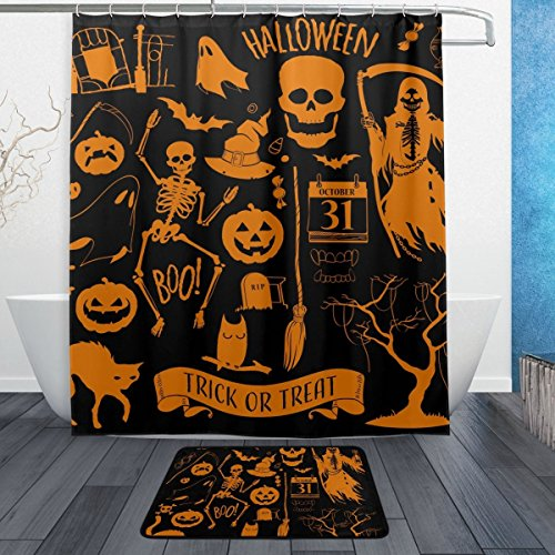 Halloween Dekoration 3-teiliges Badezimmer Set, maschinenwaschbar für den täglichen Gebrauch, inkl. 152,4x 182,9cm Wasserdicht Duschvorhang, 12Dusche Haken und 1rutschfeste Badezimmer Teppich Carpet–Set von (Halloween Yard Kunst)