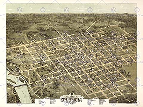 MAP COLUMBIA SOUTH CAROLINA 1872 12 X 16 INCH ART PRINT POSTER PICTURE HP2193