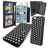 Stylebitz / Etui portefeuille avec rabat magnétique détachable pour Apple iPhone 5S / 5, motif 'polka', livré avec chiffon de nettoyage (noir & blanc)