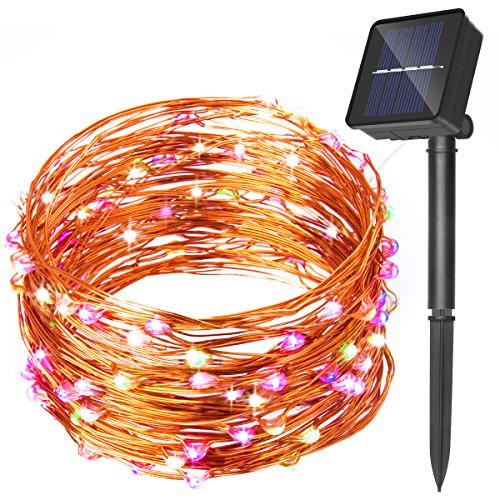 warmoon  Solar Powered Starry String Lights, 33ft 100 LEDs Waterproof Copper Wire Lights Ambiance Lighting for Outdoor, Gardens, Homes, Dancing, Christmas Party (RGB)