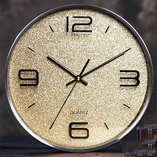 CGN Rund Mute Uhr Wanduhr Wohnzimmer moderne europäische Art und Weise kreativer einfacher Taktgeber hängende Tabelle Quarz-Taktgeber Persönlichkeit ( Farbe : Gold ) -