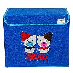 UberLyfe Kids Toy Storage Box - Blue Color - Red Bear (KSB-001312)