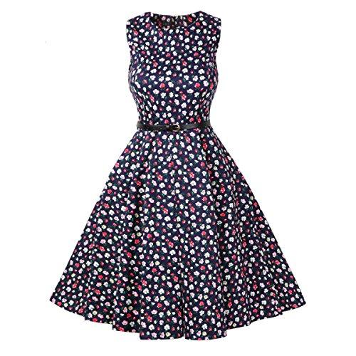30er Jahre Kleid, Lylafairy Damen A-Linie 50er Vintage Abendkleid Rockabilly Kleid Knielang Festliches Pin Up Kleid Partykleider Cocktailkleider (42, 17kleine Blumen)