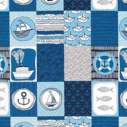 Fabulous Fabrics Baumwollstoff Maritim Patch – Petrol — Meterware ab 0,5m — zum Nähen von Bettwäsche, Kissen und Tagesdecken und Tischläufern