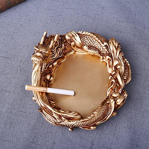 La Creatividad del clásico Chino Dragón Chino cenicero Decoracion Personalizada Swing en Resina artesanía cenicero, Oro