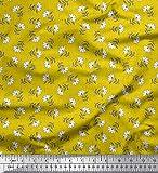 Soimoi Gelb Seide Stoff Blätter & Blumen Block Stoff