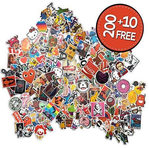 Sticker Pack [210 Pcs] Graffiti Stickers Decals Vinyls for Laptop, Children, Car, Motorcycle, Bicycle Hippie Luggage Skateboard Laptop Car Bumper Sticker