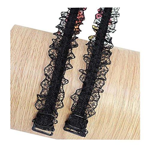 Black Temptation 1.8 cm breite Haken elastische Spitze Schultergurt Unterwäsche/BH-Bügel, rutschfest, 01 -